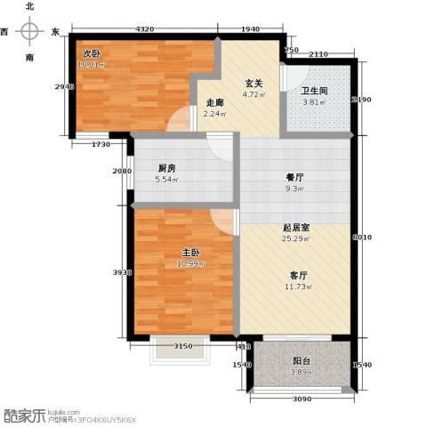 国瑞生态城雅仕苑2室0厅1卫1厨83.00㎡户型图