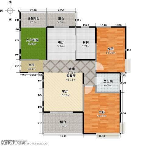 上海三湘海尚2室1厅1卫1厨107.00㎡户型图