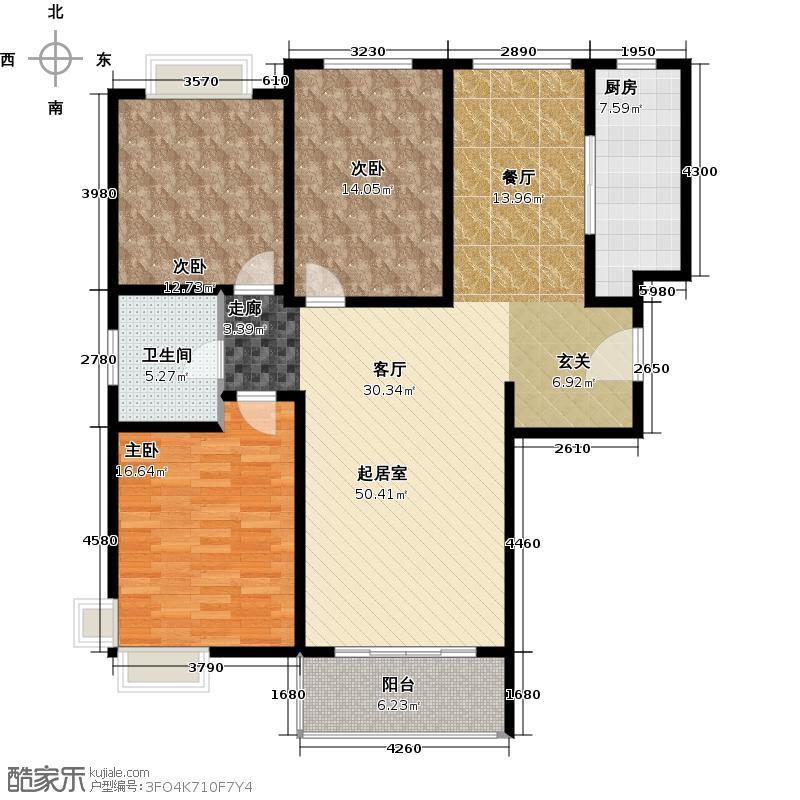 康悦亚洲花园房型户型3室1卫1厨