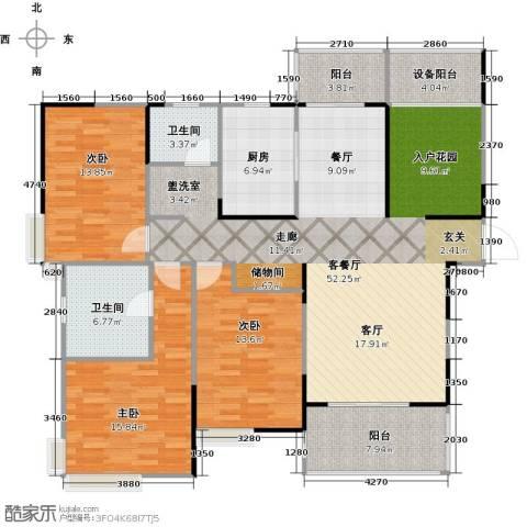 上海三湘海尚3室1厅2卫1厨138.00㎡户型图