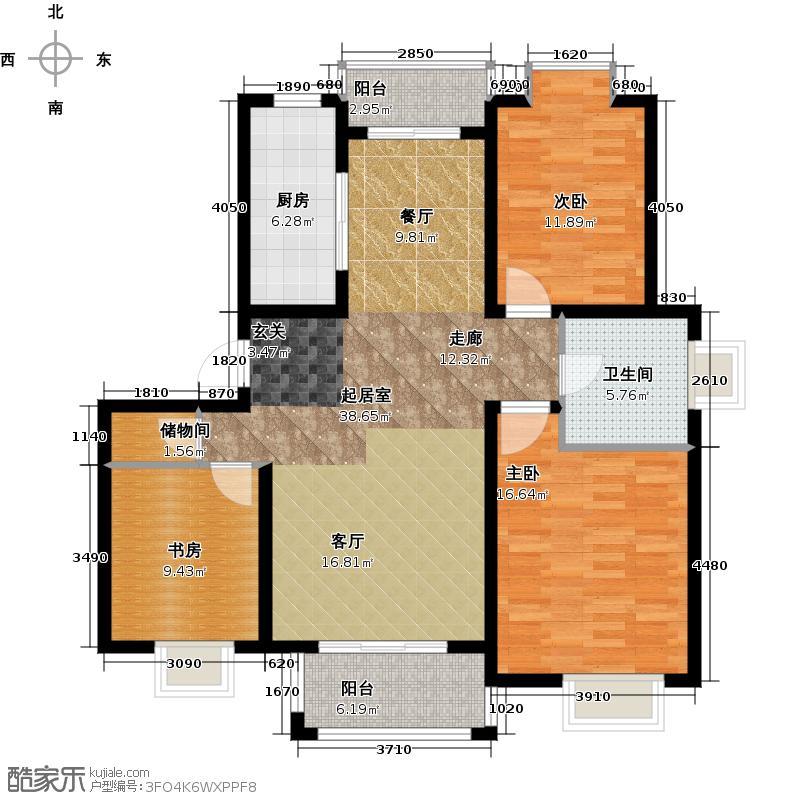 恒盛湖畔豪庭5#31#33#B面布置图户型3室1卫1厨