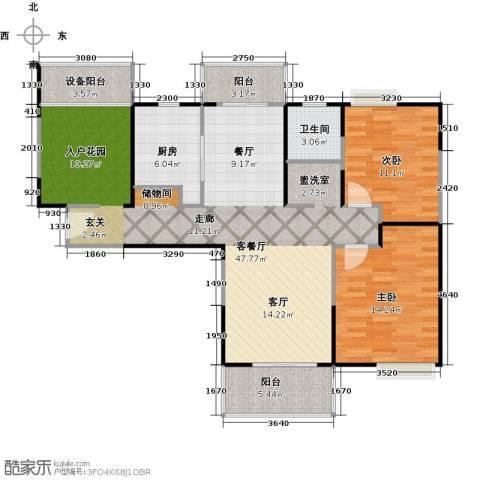 上海三湘海尚2室1厅1卫1厨115.00㎡户型图