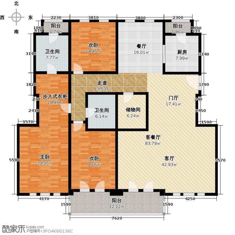 安亭新镇�绍豪斯A面图户型3室1厅2卫1厨