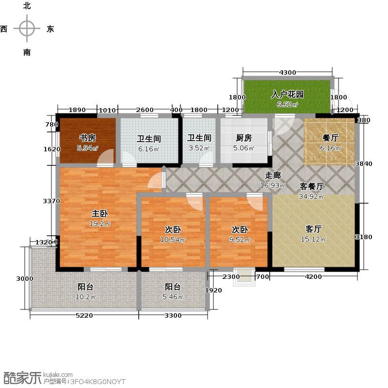 鑫隆公园大地3#楼E户型4室1厅2卫1厨