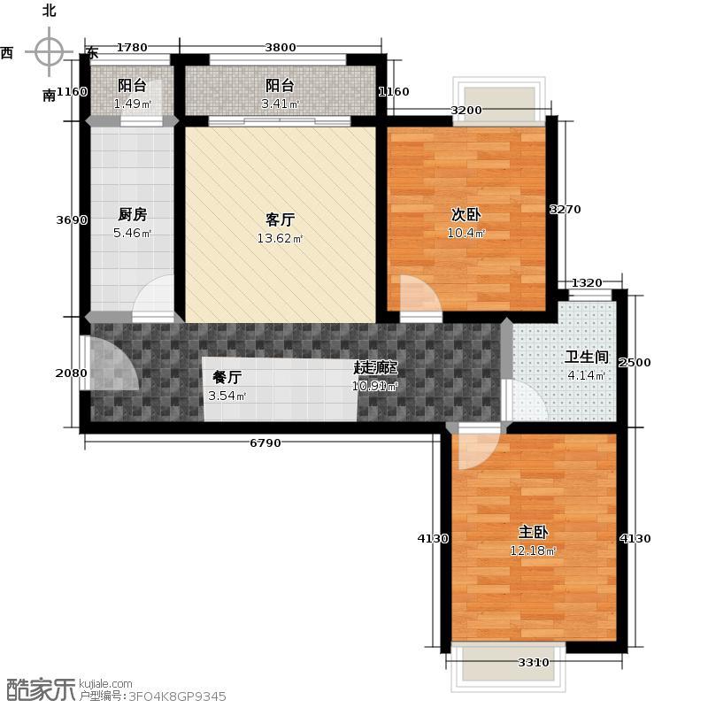 珠光御景・香河12-13号楼A户型2室1卫1厨