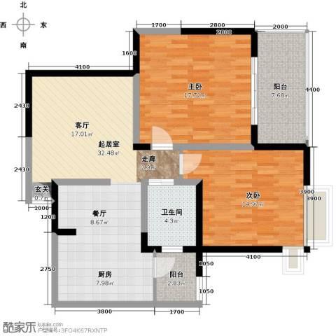 蓝堡公馆2室0厅1卫0厨90.00㎡户型图