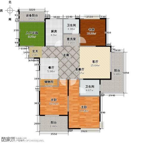 上海三湘海尚3室1厅2卫1厨132.00㎡户型图