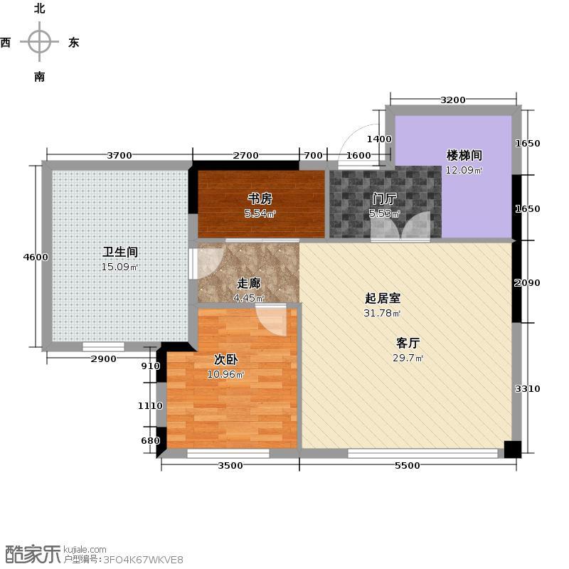 蓝堡公馆B1户型2室1卫