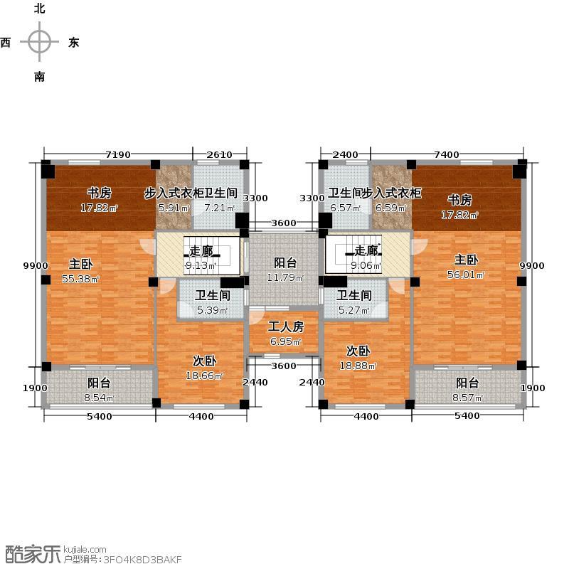 碧桂园山湖城双拼G2二层户型4室4卫