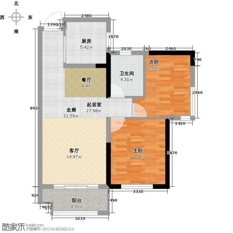 兰亭湾畔A1户型2室1卫1厨