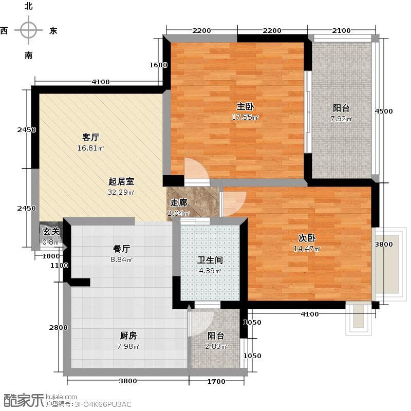 蓝堡公馆C户型2室1卫
