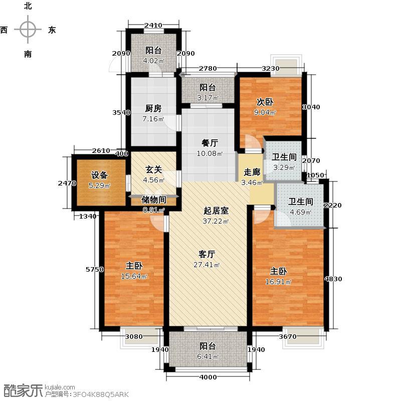 华彩唐人街壹号B户型3室2卫1厨