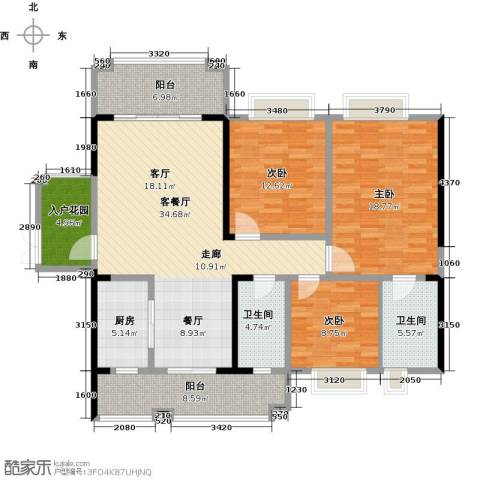 锦城南府3室1厅2卫1厨156.00㎡户型图