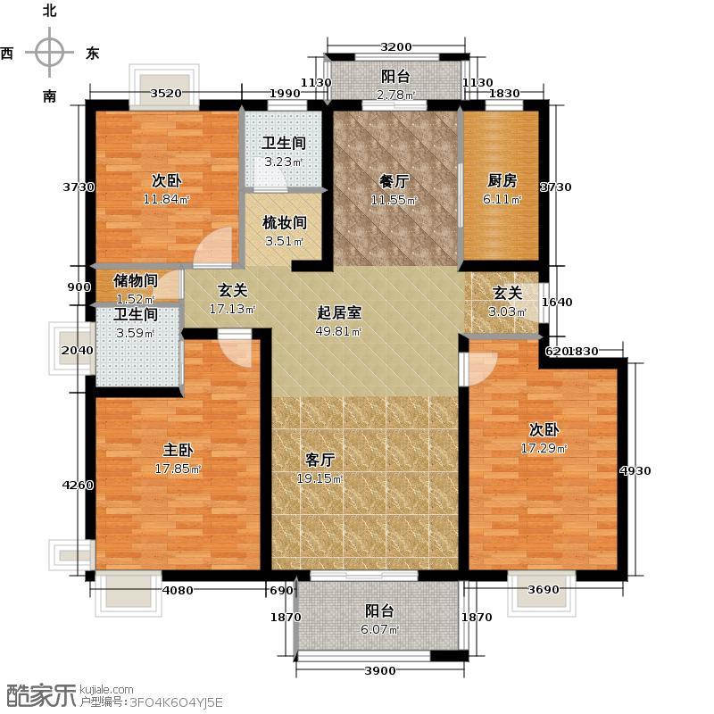 恒盛湖畔豪庭户型3室2卫1厨