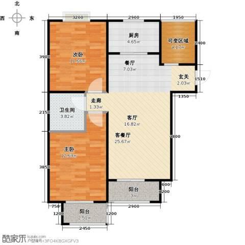 香城丽景・悦动社区2室1厅1卫1厨92.00㎡户型图