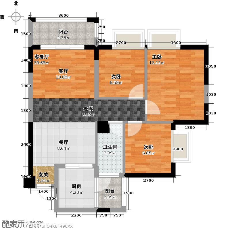 莱茵名郡1栋02户型3室1厅1卫1厨