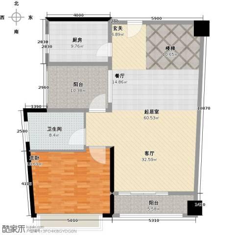 钱隆樽品三期波士堂1室0厅1卫1厨127.00㎡户型图