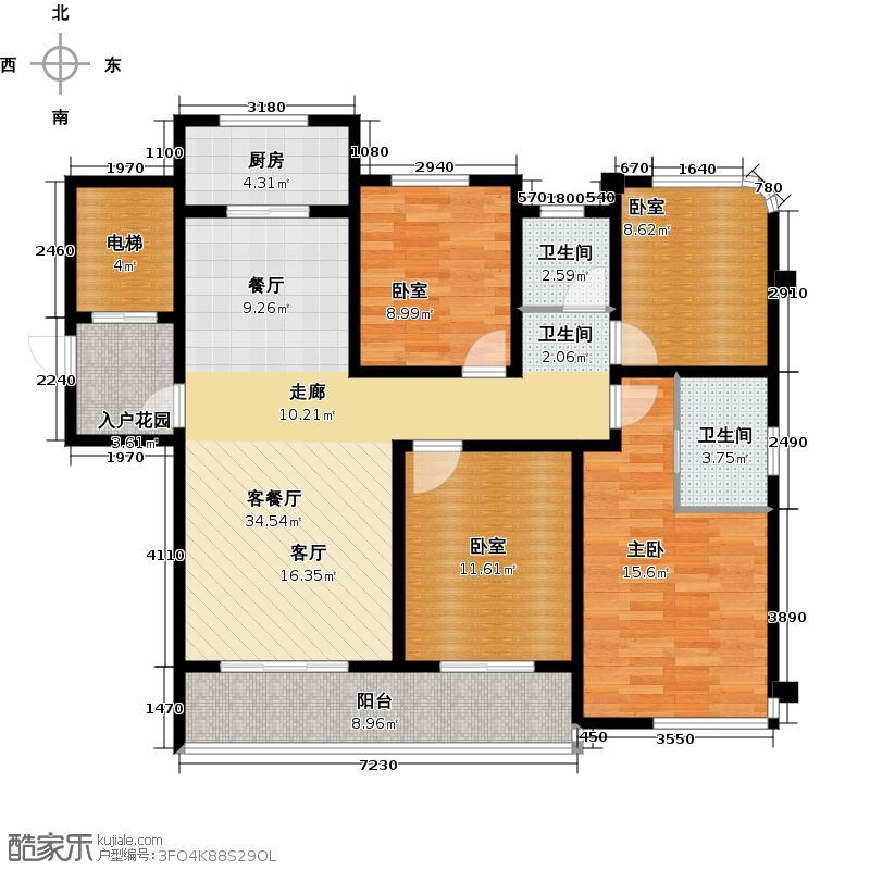 中梁・香缇国际121.00㎡户型1室1厅2卫1厨
