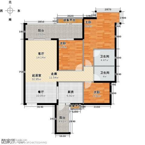 富盈东方华府三期紫峰3室0厅2卫1厨140.00㎡户型图