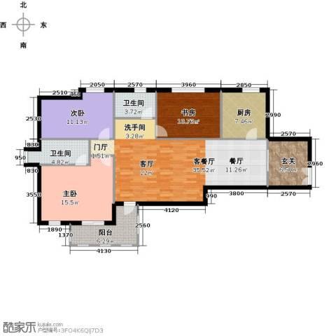 中通锦龙花园3室1厅2卫1厨113.00㎡户型图
