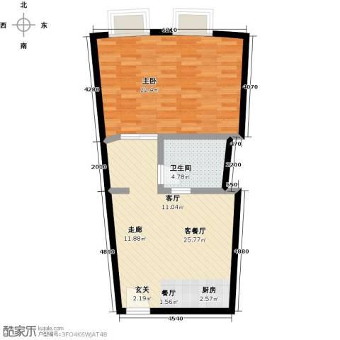 CITY155源达国际1室1厅1卫0厨59.44㎡户型图