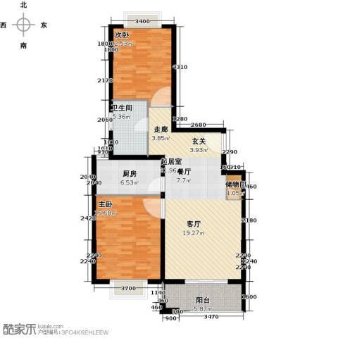 锦绣逸庭2室0厅1卫1厨88.00㎡户型图