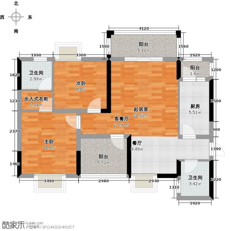 中坤领秀峰1号栋A户型2室1厅2卫1厨