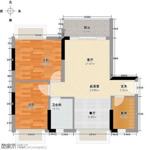 锦绣天伦花园2室0厅1卫1厨72.00㎡户型图