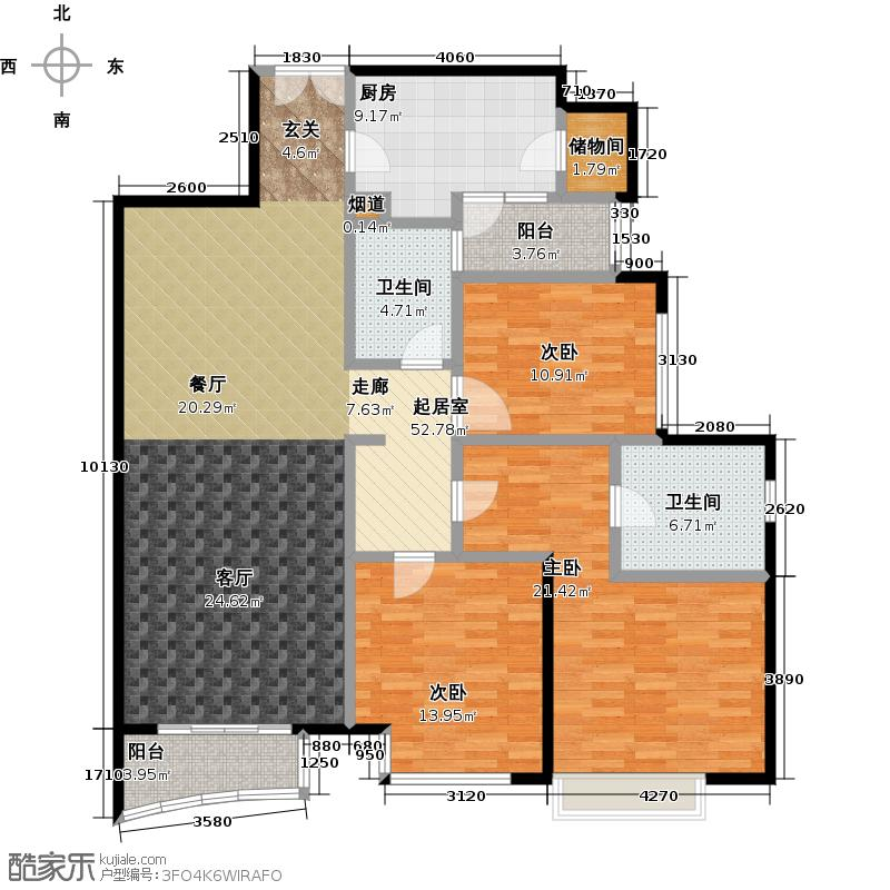 泰欣嘉园房型户型3室2卫1厨