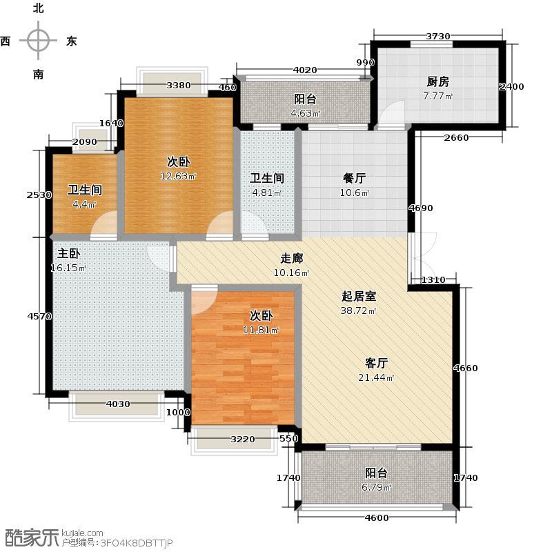 金鼎公园尚图为5-A户型3室2卫1厨