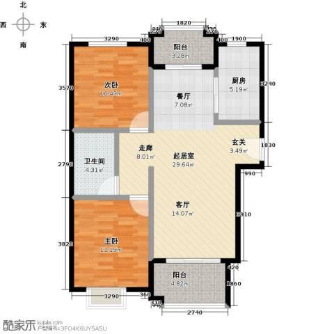 国瑞生态城雅仕苑2室0厅1卫1厨95.00㎡户型图