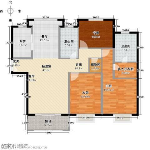 盛世御珑湾3室0厅2卫1厨122.00㎡户型图