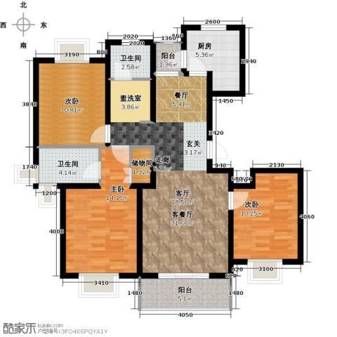 宝宸怡景园3室1厅2卫1厨110.00㎡户型图