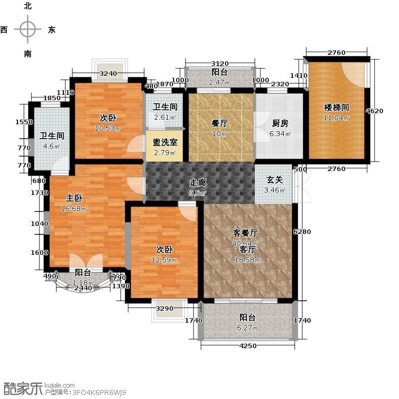 宝宸怡景园11号户型3室1厅2卫1厨