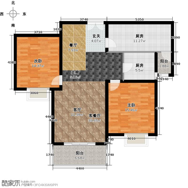 宝地东花园户型2室1厅2厨