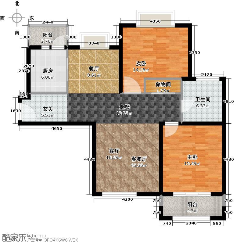 宝地东花园户型2室1厅1卫1厨