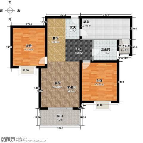 宝地东花园2室1厅1卫1厨106.00㎡户型图