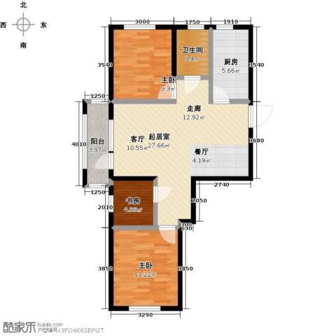 中体奥林匹克花园・蝶语湖3室0厅1卫1厨93.00㎡户型图