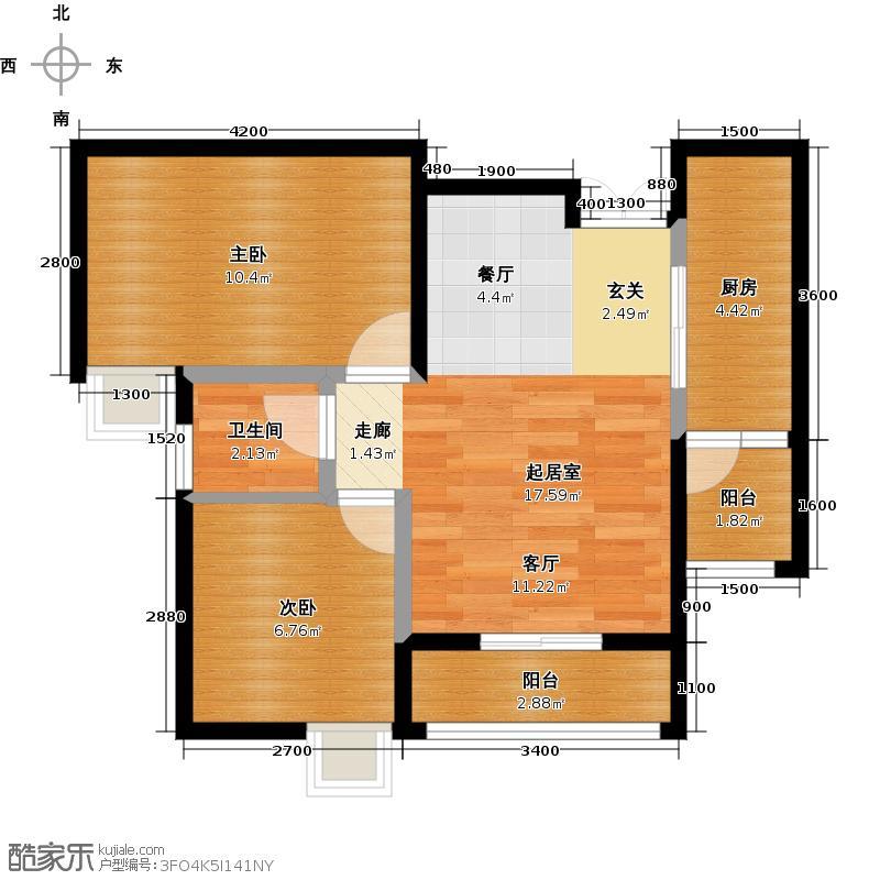 金源利青国青城1号房户型2室1卫1厨