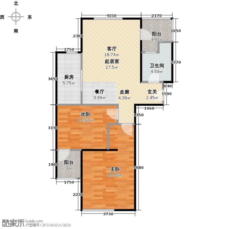 大华铂金华府--34套-宝山房地(2009)预字0091号户型2室1卫1厨