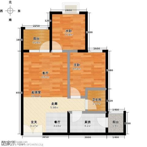 华宇・秋水长天2室0厅1卫1厨55.00㎡户型图