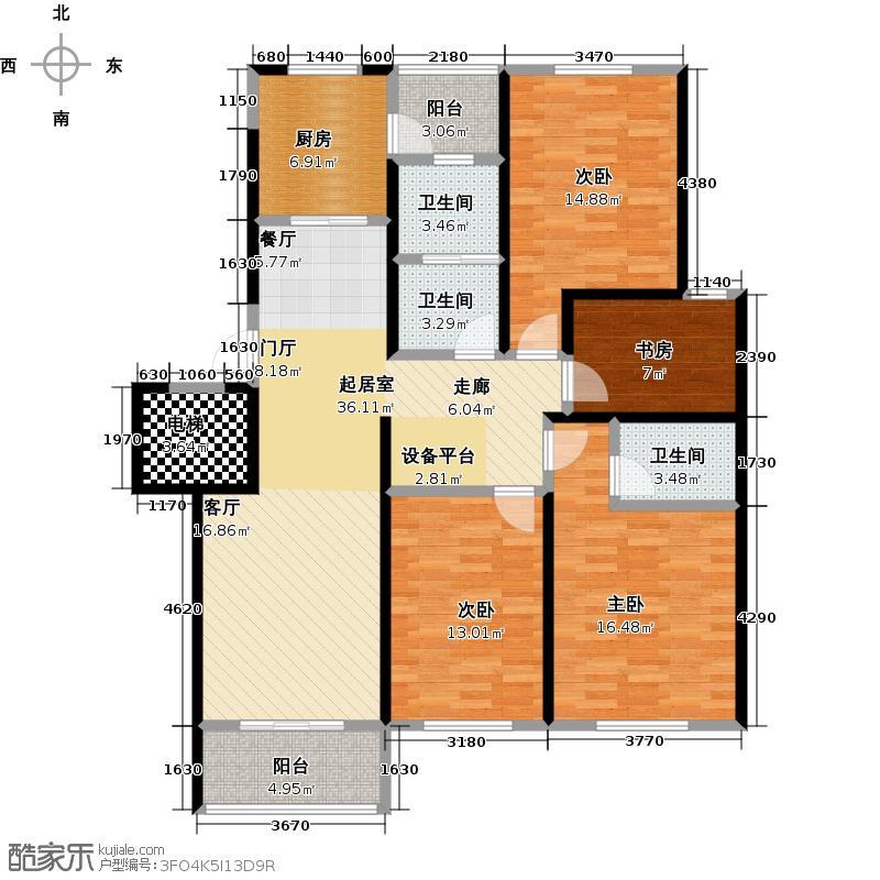 紫金新城一期多层6号楼D10户型4室3卫1厨