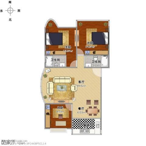 光辉岁月3室2厅2卫1厨113.00㎡户型图