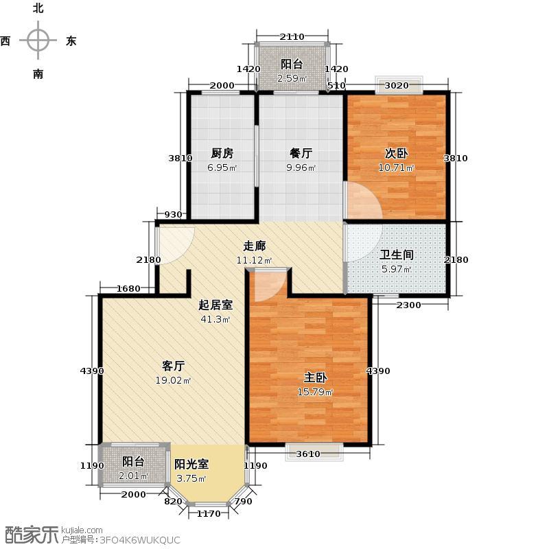 合生城邦小高层户型2室1卫1厨