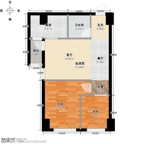 东怡外国2室0厅1卫1厨59.42㎡户型图