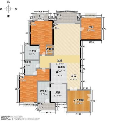 信达阳光海岸3室1厅3卫1厨242.91㎡户型图