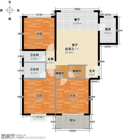 盛世御珑湾3室0厅2卫1厨109.00㎡户型图