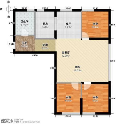 中合银帆国际3室1厅1卫1厨90.00㎡户型图