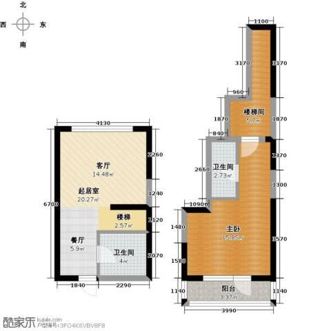 中交・金海湾1室0厅2卫0厨61.00㎡户型图