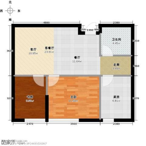 中合银帆国际2室1厅1卫1厨60.00㎡户型图